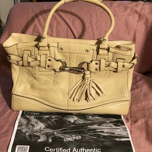 Coach Beige leather Signature Logo handbag